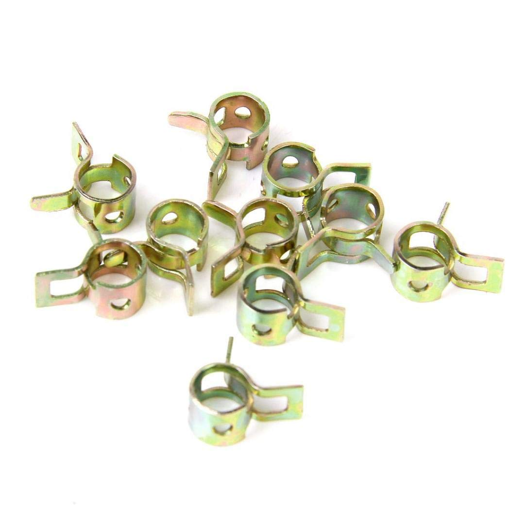 TOSSPER 10pcs 9mm Spring Clip Fuel Hose Line Water Pipe Air Tube Clamps Fastener