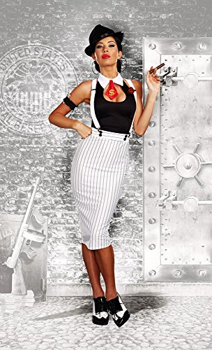 [Dreamgirl Women's Dirty Work White Pinstripe Gangster Pin-Up Costume, White/Black, Large] (Pin Up Girl Costume Halloween)