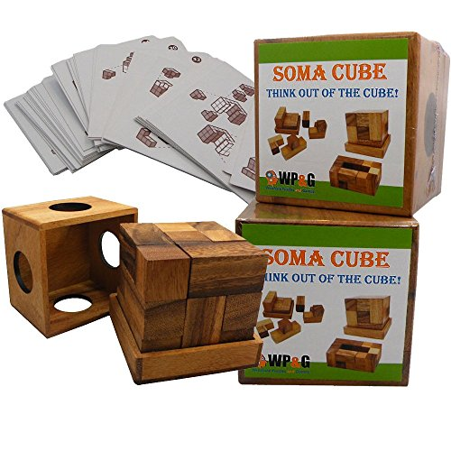 (Soma Cube Puzzle Wooden with 50 Playing Cards 3D Brain Teaser in a Large Size)