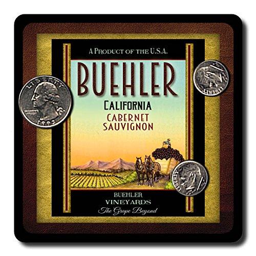 Buehler Family Vineyards Neoprene Rubber Wine Coasters - 4 (Buehler Vineyards Wines)