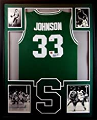 Magic Johnson Framed Jersey Signed PSA DNA COA Autographed Michigan State 05095a1db