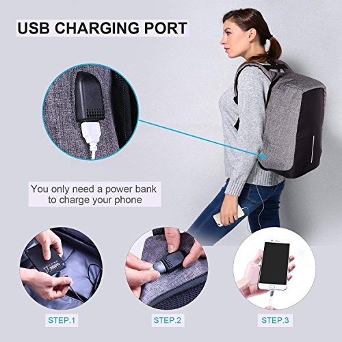 Laptop Backpack business anti-theft waterproof travel computer backpack with USB charging port college school computer bag for women & men fits 15.6 Inch Laptop and Notebook - Grey by Langus (Image #1)