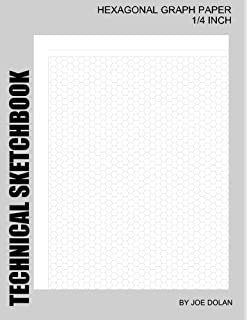 technical sketchbook hexagonal graph paper 14 inch designed for creative artists