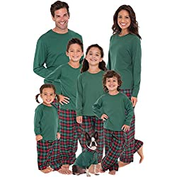 PajamaGram Red and Green Plaid Matching His and Hers Christmas Pajamas