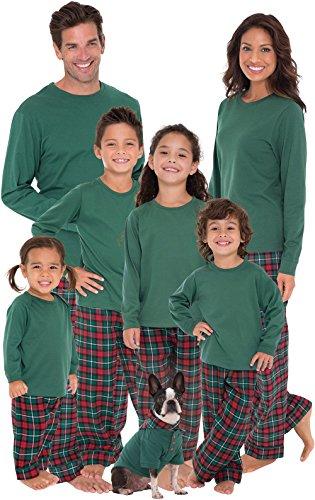 PajamaGram Red and Green Plaid Matching His and Hers Christmas Pajamas