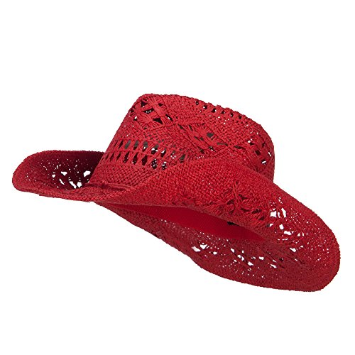 (Q Headwear Solid Color Straw Cowboy Hat - Red OSFM)