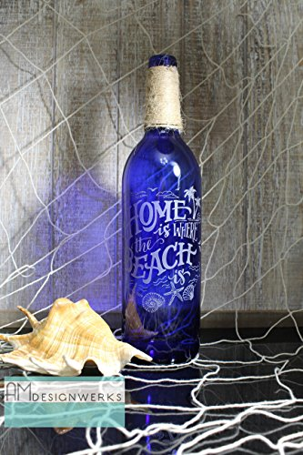 (Fully Hand Etched Home Is Where The Beach Is Floral Cobalt Blue Wine Bottle Vase)