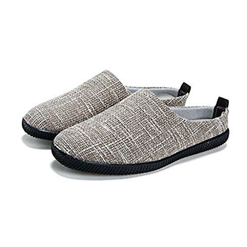 di Baotou Cachi SHI lino pigre Scarpe UK9 5 di dimensioni Scarpe shoes tela uomo EU43 all'esterno casual SHOP Colore Pantofole Pantofole canvas Cachi LI da CN45 estivo XIANG wqapw8