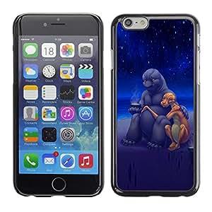 Qstar Arte & diseño plástico duro Fundas Cover Cubre Hard Case Cover para Apple iPhone 6(4.7 inches) ( Aliens Art Cute Love Romance Stars Universe)