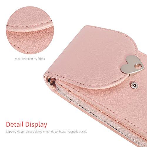 Vandot Universal Mini Umhängetasche (18x12x2cm) mit Einstellbar Langem Riemen (130cm) geeignet für grosse Smartphones [Handys Unter 5.5 Zoll] wie iPhone X / iPhone 8 Plus / 7 Plus / 7 8 6 6S 5 5S SE,  Herz-Rosa