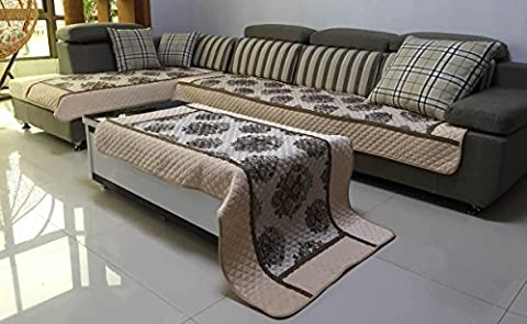 Quilted Chenille Custom Sectional Sofa Throw Pads Furniture Protector Sold Separately (Beige, (Sofa Chaise Cover)