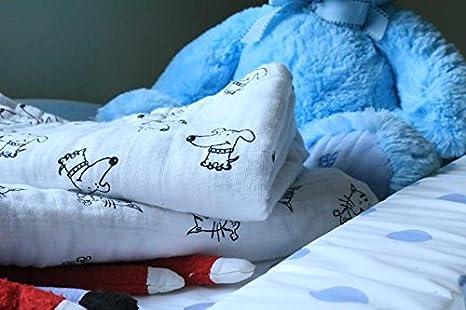 2 mantas de muselina 100% algodón orgánico para perro, diseño de cachorro, extra grande, 117 x 107 cm, para bebé: Amazon.es: Bebé