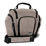 USA GEAR DSLR Camera Bag Sling (Brown) with Weather Resistant Bottom, Soft Cushioned Interior & Side Lens Storage Pockets - Compatible w/Nikon D500, Canon EOS 80D, Sony Cyber-Shot DSC-RX10 III & More