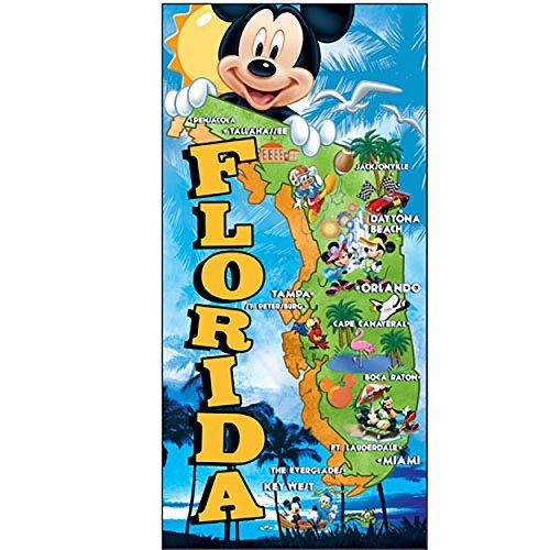 (Disney Mickey Mouse Donald Duck Goofy and Pluto Map Beach Towel Black Yellow Red Blue Green)