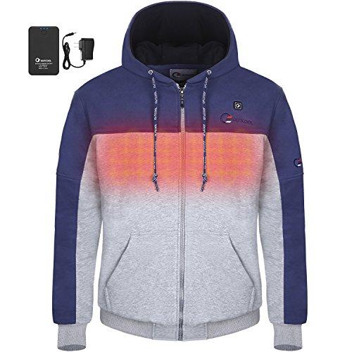 OUTCOOL Men's Cordless Heated Hoodie Kit Full-Zip Hooded Fleece Sweatshirt (2XL) [Type: 17NWY05]