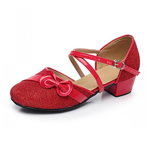 YING LAN Children Girl's Round-Toe Sparkly Glitter Side Bowknot Strap Modern Latin Ballroom Dance Closed-toe Shoe Red Flower 31