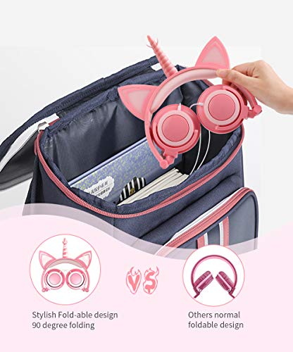 Unicorn Kids Headphones with Microphone, Over-Ear Cat Headphones Wired for Girls Boys Adjustable Foldable 85dB Volume Limited Headset School Travel (Peach)