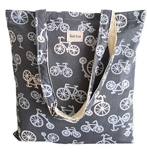 Print Shoulder Bag - Women's Canvas Tote Shoulder Bag Stylish Shopping Casual Bag Foldaway Travel Bag (35-No closure-Bicycle grey)