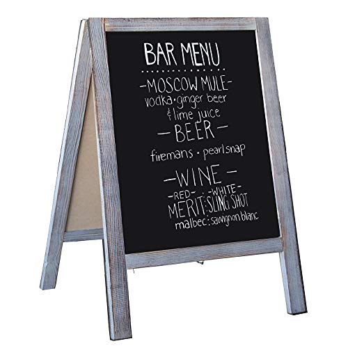 Wooden A-Frame Sign with Eraser & Chalk - Magnetic Sidewalk Chalkboard - Sturdy Freestanding Grey Sandwich Board Menu Display for Restaurant, Business or Wedding