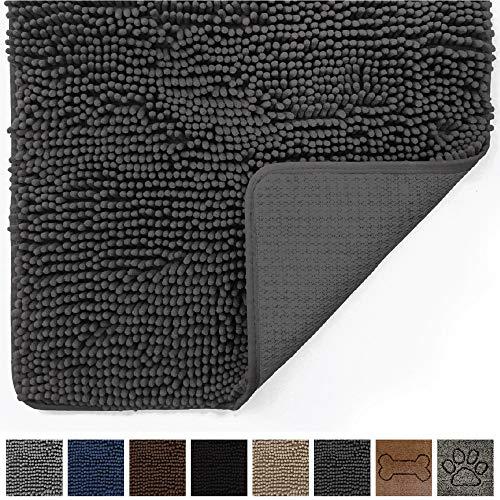 Gorilla Grip Original Indoor Durable Chenille Doormat, (30x20) Absorbent, Machine Washable Inside Mats, Low-Profile Rug Doormats for Entry, Mud Room, Back Door, High Traffic Areas (Charcoal)