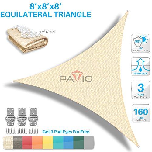 Patio Paradise 8' x8'x 8' Beige Sun Shade Sail Triangle Canopy - Permeable UV Block Fabric Durable Outdoor - Customized Available (Triangle Sail Patio Shade)