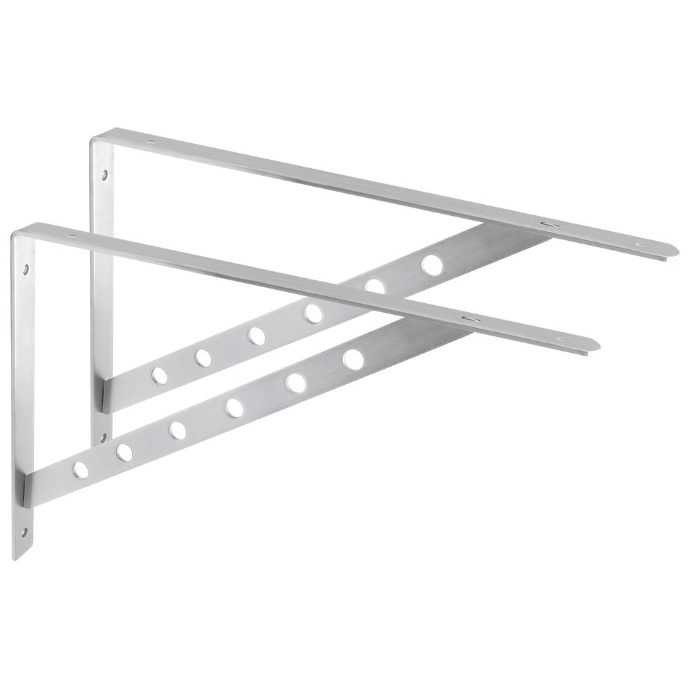 Alise 1 Pair Stainless Steel Brackets Floating Shelves Tripod Triangle Heavy Duty Shelf Bracket Support Wall Hanging 450X300mm,Brushed Nickel
