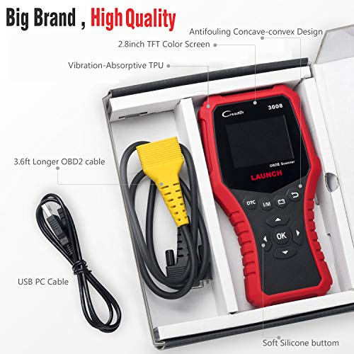 LAUNCH CRP3008 Creader 3008 Professional OBD2 Scanner Enhanced OBDII EOBD Code Reader, One-Key Check Engine Light I/M Readiness O2 Sensor Systems Battery Test Diagnostic Scan Tool-Free Update by LAUNCH (Image #7)
