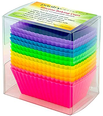 Pantry Elements Large Rectangular Silicone Baking Cups / Petite Loaf Pans - 12 Cupcake and Muffin Molds, Six Vibrant Colors by Veriture, Inc.