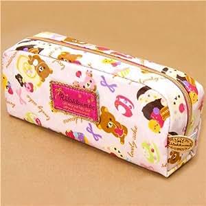 pink Rilakkuma bear cupcake pencil case San-X Japan