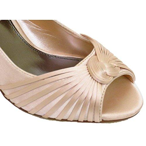 Womens Pale Gold Satin Bridal Bride Ladies Bridesmaid Wedding Court Shoes Sizes 3-7 rjGKuycFK