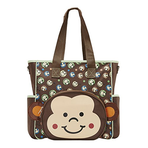 SoHo diaper bag Franky Monkey 10 pieces nappy tote travel bag for baby mom dad Stylish insulated unisex multifunction large capacity durable bag includes changing pad stroller straps mesh bag brown
