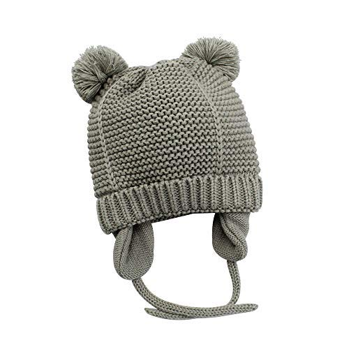 XIAOHAWANG Baby Boys Girls Hats Cute Pompom Ears Knit Winter Caps Toddler Earflap Beanies (0-7Months, Grey 2)