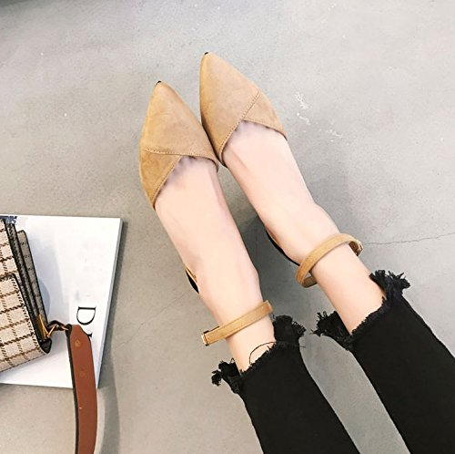 37 Work Heels 7Cm Pointed High MDRW Elegant Fashion Hollow Coarse Lady Leisure Khaki Spring Work Buckle Shoes Shoes Temperament Suede OHaqOw
