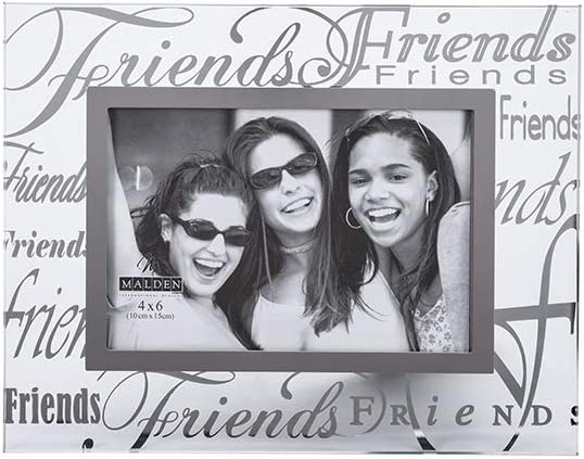 Malden International Designs Mirrored Glass With Silver Metal Inner Border Friends Picture Frame, 4x6, Clear
