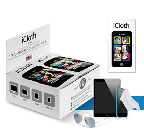 iCloth Lens and Screen Cleaner | 100 wipe counter display box ( each wipe 9cm x 13cm - 1 ml fill ) For use on Glasses, Chromebooks, Tablets, Smartphones, Sunglasses, - Covering Glasses Sunglasses