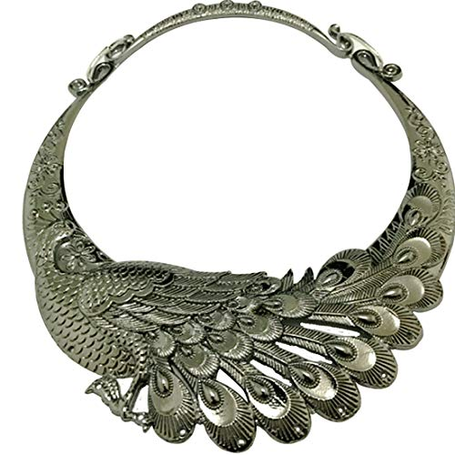 - WXART Retro Carved Peacock Collar Choker Indian Exaggerated Jewelry Collared Vintage Necklace for Women and Teens (Gun Black)