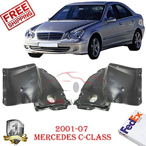 Front Fender Liners for 2001-2007 Mercedes Benz C240 Base/C350 Luxury Sedan(wagon 2002-2005) Lower Section Left Hand Side & Right Hand Side Direct Replacement Set of 2 MB1248183 MB1249114