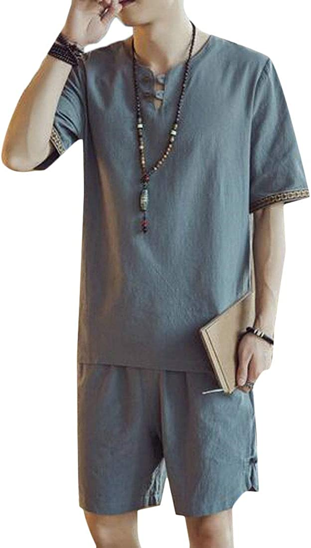 UUYUK Men T-Shirt Beach Shorts Summer Cotton Linen 2 Pieces Outfits Loose Fit Tracksuits