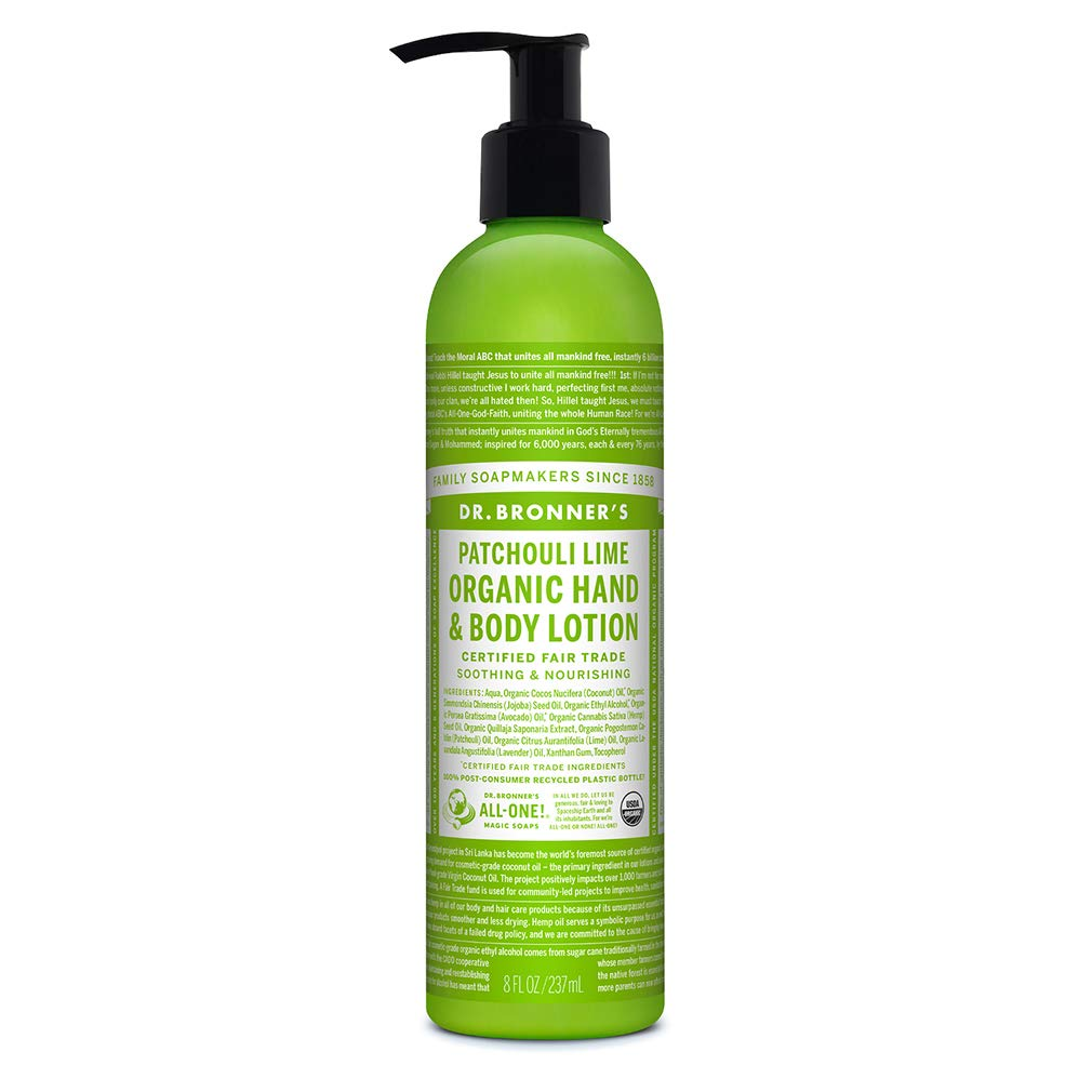 Dr. Bronner's - Organic Lotion (Patchouli Lime, 8 Ounce) - Body Lotion and Moisturizer, Certified Organic, Soothing for Hands, Face and Body, Highly Emollient, Nourishes and Hydrates, Vegan, Non-GMO