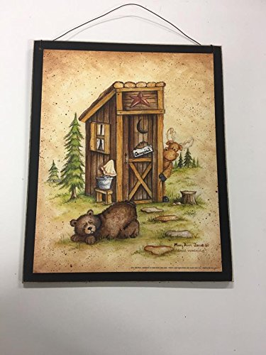 Still Waiting moose bear outhouse occupied wood country cabin bathroom sign bath decor decorations