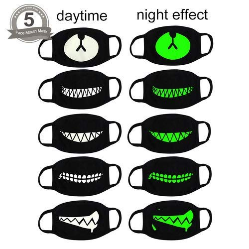 fomei 5 Pack Cool Luminous Unisex Cotton Blend Anti Dust Face Mouth Mask Black for Man Woman ()