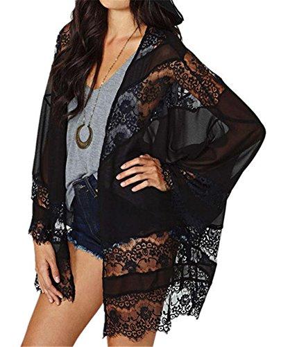 Kimono LATH PIN Cardigan Beachwear Up Soie Mousseline Kimono Cover Noir Femme Tops Blouse de en Dentelle drrwTEqxnv