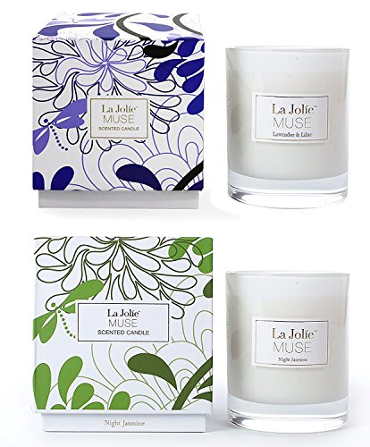 LA JOLIE MUSE Lavender Liliac&Jasmine Scented Candles Aromatherapy Soy Wax, 2 Pack 8.1 oz Each, Gift Candles for Women