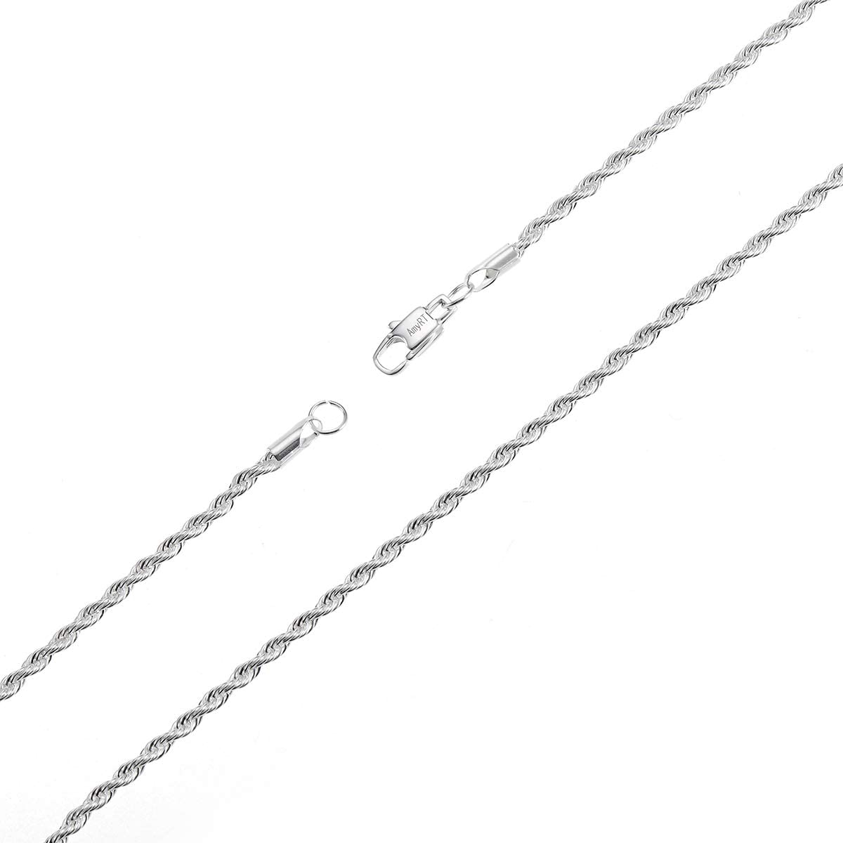 AmyRT Silver Twist Rope Chain Necklace,3mm Stainless Steel Mens Womens Necklace 16 to 30 inch