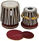 Maharaja Musicals Sheesham Dhama/Sikh Jori, Sheesham Wood Dhama and Dayan Tuned To A Sharp, Bass Tabla Set, Padded Bag, Rings, Covers, Hammer, Indian Hand Drums (PDI-EBI)