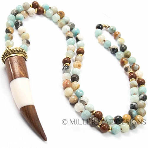 Wood & Enamel Horn Pendant on Amazonite Necklace - 33 Inches Long Handmade Necklace by Miller Mae Designs (Blue Enamel Bone)