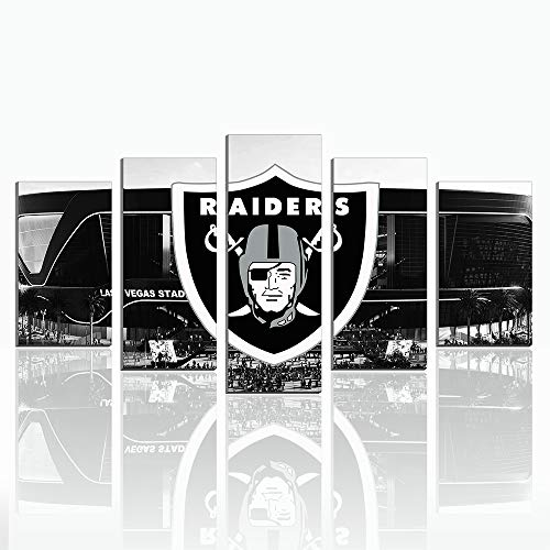 Karen Max 5 Pieces Canvas Prints Wall Decor Oakland Raiders Poster- Home Decor Football Sport Pictures New Home Friend Frameless