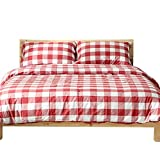 OTOB Lightweight Red Plaid Full Size Bedding Sets Collections Reversible Gingham Checkered Grid Geometric Queen Duvet Cover Set Cotton with 2 Pillowcases Zipper Closure for Teens Girls Boys Adults
