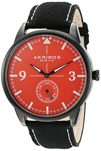 Akribos Chronograph Pilot Style Watch 45mm Case Comfortable Stitched Casual Canvas Strap – Subdial for Seconds – AK938