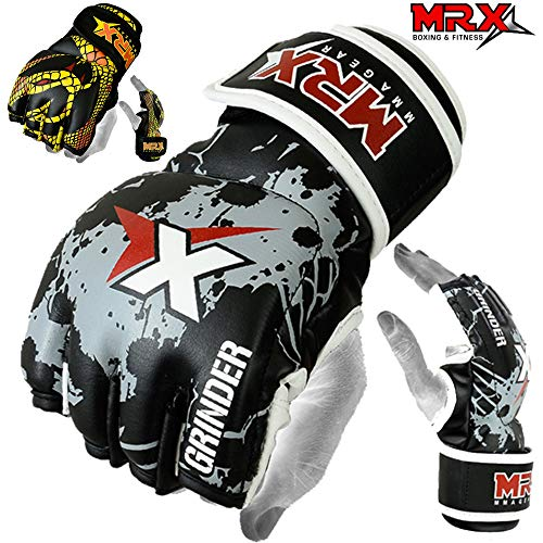 MMA Grappling Gloves Mrx Pro Style Boxing Cage Fight Glove, Black/White -